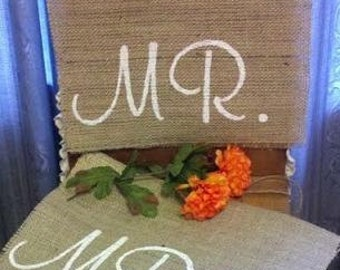 Wedding Chair signs - 'Mr & Mrs' Burlap Chair Signs - hanging burlap signage for barn wedding, Rustic wedding chair signs, Mr and Mrs sign
