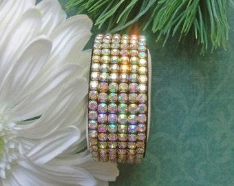 Sparkling 6 row AB crystal rhinestone adjustable 7 to 7.5 inch black leather cuff bangle bracelet B72