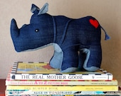 Rumble the Rhino - handmade eco-friendly plush rhino toy created out of repurposed vintage denim