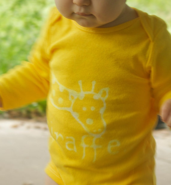 Baby onesie, hand dyed with giraffe front and back, yellow, multiple colors available