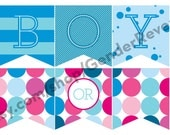 Boy or Girl (Pink and Blue Stripes) Gender Reveal Party Printable Digital Decor Package