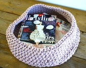 Pink, crocheted basket - large