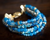 Blue agate and blue crystals cuff