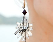 Swan Lake - Swarovski and chain statement earrings - made to order