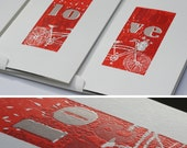 Valentine's Letterpress Card/Matted Art set from Card to Art