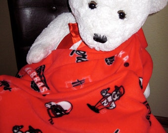 Nebraska Corn Huskers Red Football Fleece Sports Baby Blanket