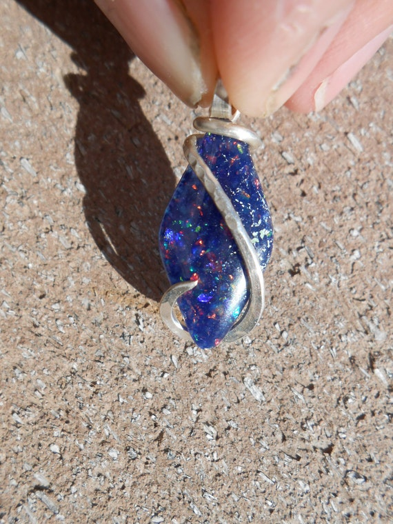 Reservedemly-Slocum Opal Silver Wrapped Pendent