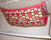 "Bunk Bed Hammock  ""Hearts on Brown print withRed Fleece Lining"" Rat, Ferret, Sugar Glider"