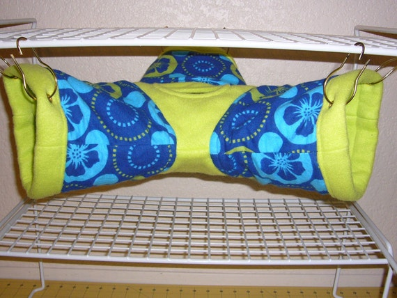 "3-way Tube Hammock ""Hawaii Flowers Print with Lime Fleece Lining"" Rat, Ferret, Sugar Glider"