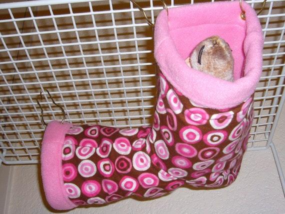 "Small Corner Tube Hammock with access hole ""Bullseye Pink Print with Pink Fleece Lining"" Rat, Ferret, Sugar Glider"