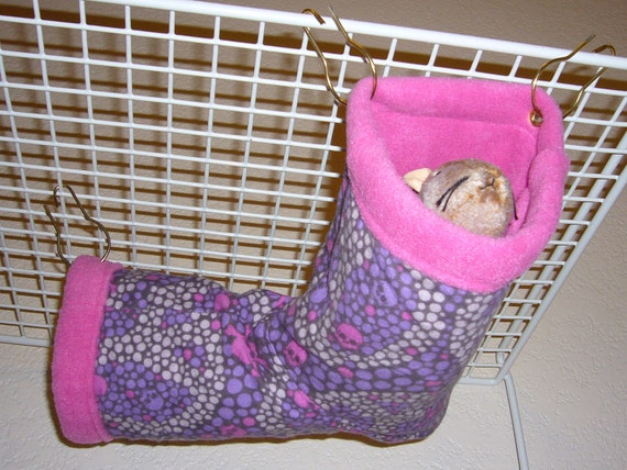 "Small Corner Tube Hammock with access hole ""Peace Skull Print with Magenta Fleece Lining"" Rat, Ferret, Sugar Glider"