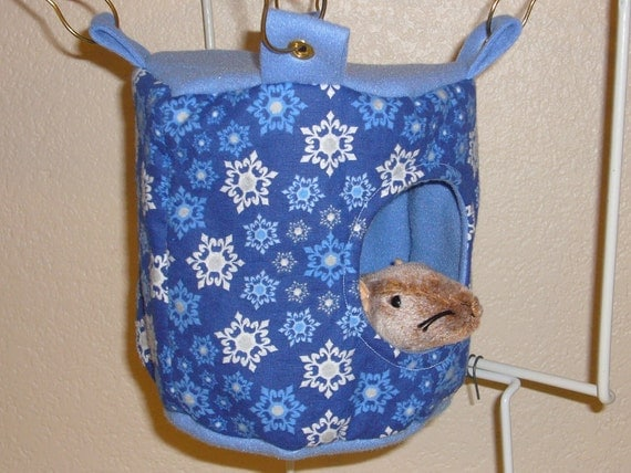 "Small Drum Hammock with access hole ""Snow Flakes Print with Blue Fleece Lining"" Rat, Ferret, Sugar Glider"