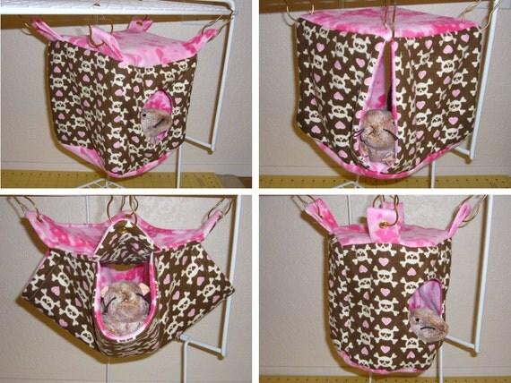 "8 Piece Set ""Skulls with Pink Hearts Print with Pink Field Fleece Lining"" Rat, Ferret, Sugar Glider"