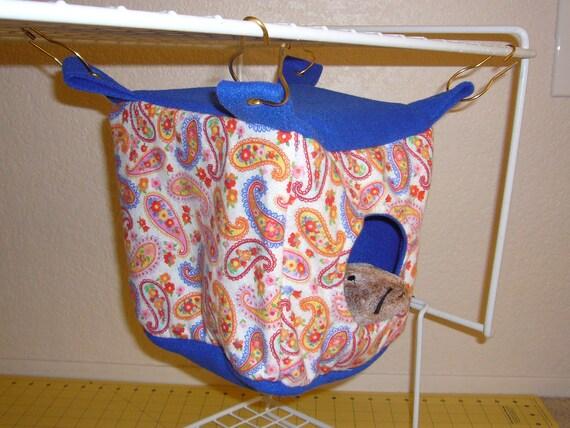 "Small Cube Hammock ""Paisley Print with Royal Blue Fleece Lining"" Rat, Ferret, Sugar Glider"