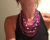 "multistrand ""Festival of Pink"" chunky bibbed necklace"