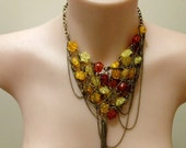 "synthetic amber ""Amber Honeycomb"" statement bib necklace"