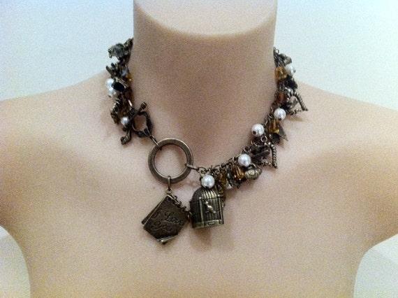 """Antiqued gold """"Parisian love affair"""" charm necklace"""