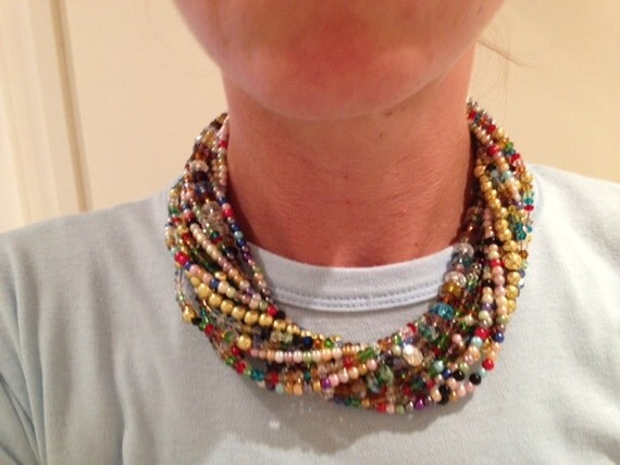 """multistrand """"Rainbow Gems"""" twisted chunky necklace"""