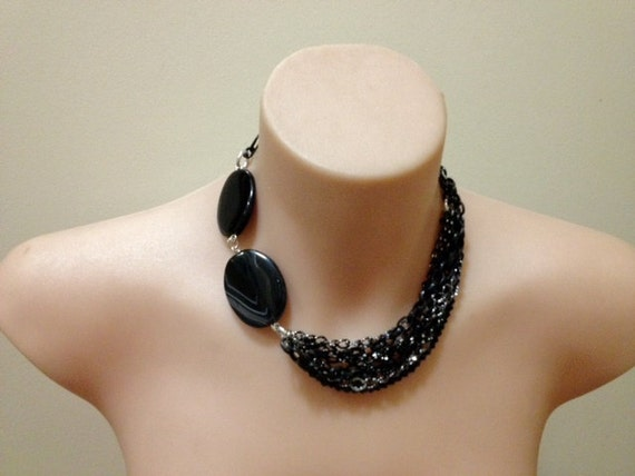 "Chunky Agate ""midnight stone"" gemstone and black chain necklace"