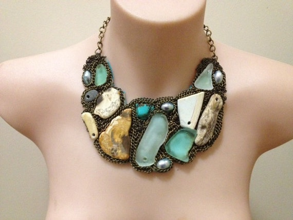 "OOAK ""Washed ashore"" beach treasure bib with petrified wood, turquoise, mother of pearl"