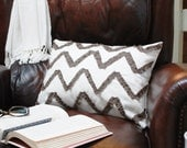 Ruffled Chevron Pillow Cover in Brown & Ivory