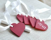 CHALKBOARD TAG HEARTS set of 5 with chalk free shipping