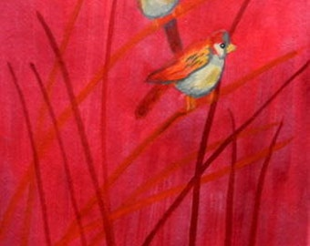 Two small birds in a red meadow