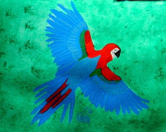 Flying Blue and Red Parrot