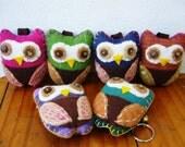 Owl, 6 Owl Key chains, Handmade Key chain, Handmade Owl, Woven Fabric, felt