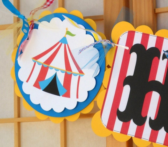 NAME Banner Big Top Birthday Bunting By OneFantasticParty
