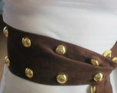 Vintage Designer Belt - Yves St Laurent, Brown Suede with Gold Buttons