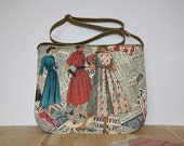 1950's Vintage Sewing Pattern Prints Messenger Bag,Beige Waterproof  Vegan Tote ,Vintage Cross Body Bag,Cotton&Suede Bag