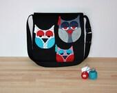 three owls applique messenger bag/black crossbody bag/owl applique shoulder bag/large diaper bag/ready to ship