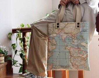 blue world map print large diaper bag/  large tote bag/messenger bag/ shoulder bag/everyday purse/ready to ship