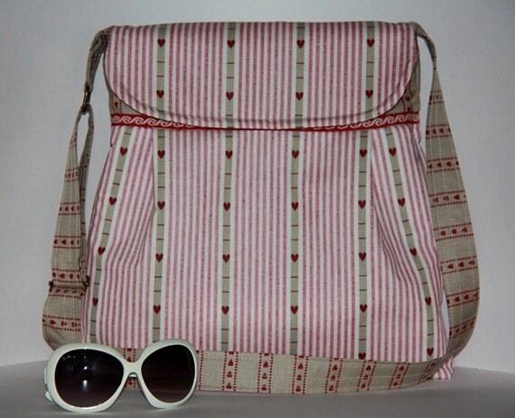 retro pink large diaper bag/ pink hearts large tote bag/vintage pink messenger bag/ pleated shoulder bag/everyday purse