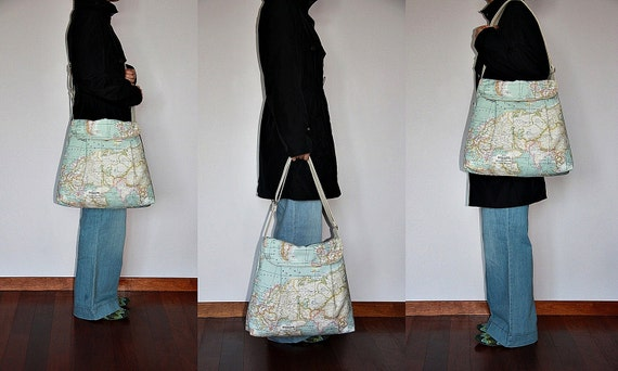 World Map Print Large Diaper Bag , Tote Bag  Messenger Bag  Shoulder Bag Everyday Purse