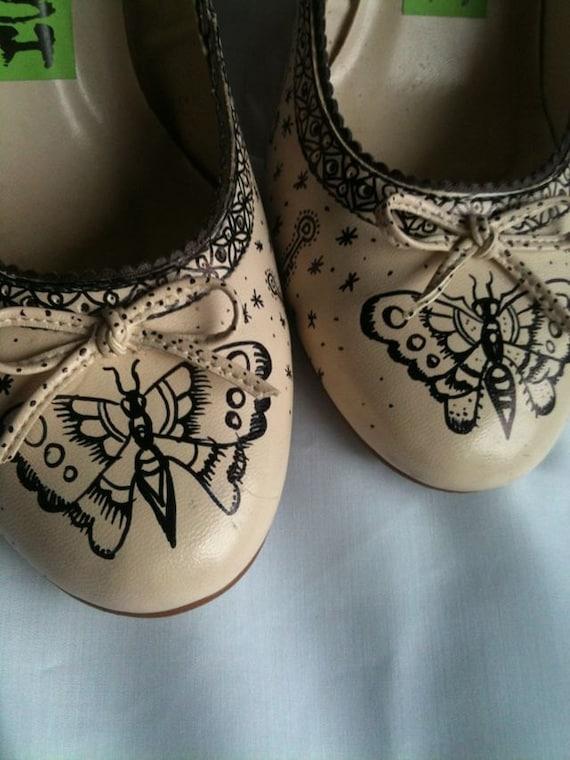 Inked Vintage Tattoo Heels Shoes Uk 6 USA 8 EU 39