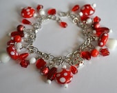 Cherry Charm Bracelet and Earrings in Red and White