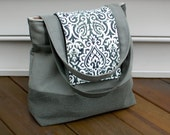 SALE- The Reversible 'Andrea' Diaper Bag- Hunter Green- Regularly 48