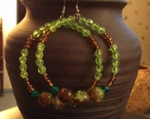 "Bamboo Green and Brown Beaded Earrings: ""Fertile Earth"""