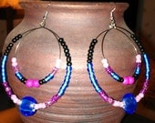 "Electric Blue, Pink, Fuchsia, and Black Double Hoop Earrings: ""Glam Slam"""