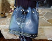 Handmade Navy Blue Leather Drawstring Hand Bag Purse and Matching Wallet