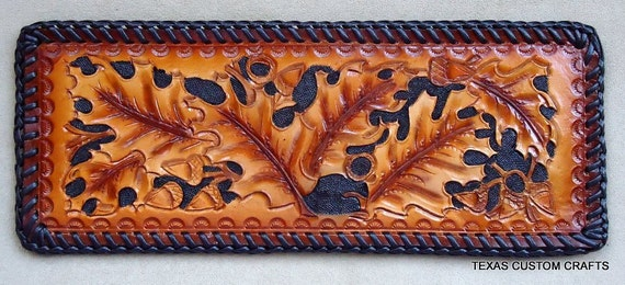 Handmade Leather Billfold Wallet With Hand Tooled Oak Leaf Pattern