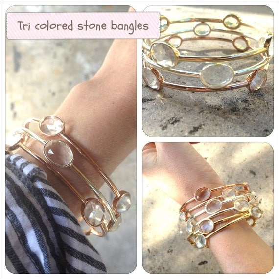 2 silver clear stone bangles