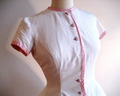 Pixie Dress Pink & White, handmade vintage, 50s 60s, Spring day frock. Young, Fresh, Sweet - 100% cotton. Size S or P.