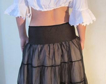 Vintage Black Crinoline - 40s / 50s - Vintage Lingerie - Sexy, Gypsy, Lacy Skirt -SALE