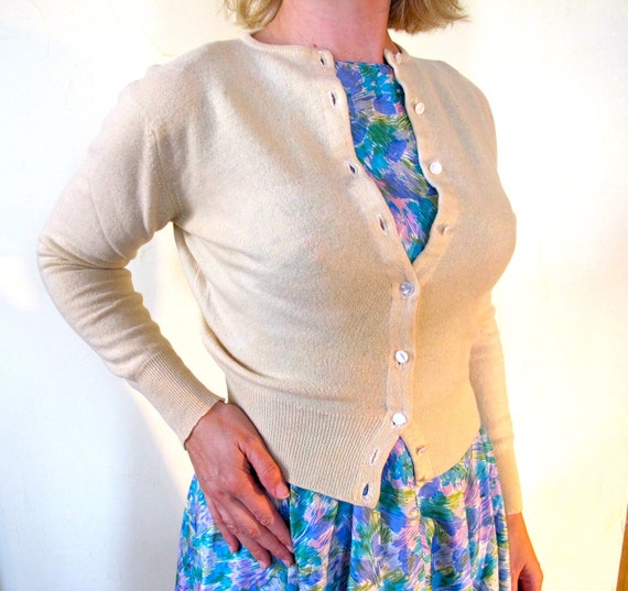 Cashmere Cardigan, Cream Colored, Authentic mid-century - Heavenly, lush, soft as a cloud
