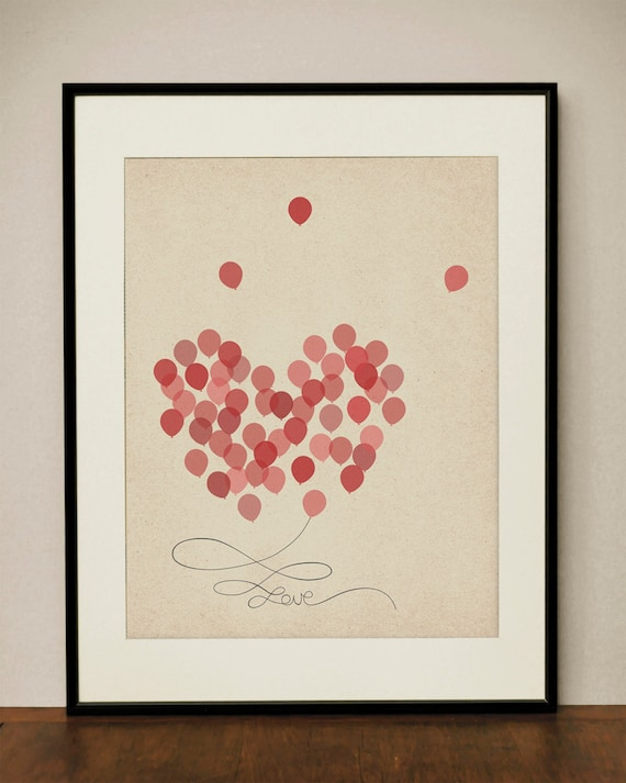 Balloon Heart Love 11x14 Art Print