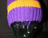 Purple and Gold Hand Knitted Winter Hat