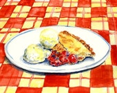 Still Life Kitchen Decor Food Art  of Original Watercolor Painting --Cherry Pie